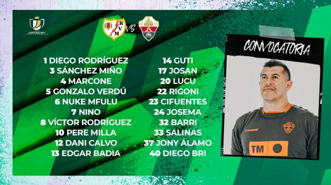 Lista de convocados del Elche ante el Rayo en Copa