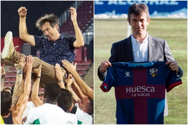 Pacheta, en la celebración del ascenso a Primera del Elche y en su presentación como entrenador del Huesca.